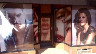 perforated window graphics idea for hair salon in chicago